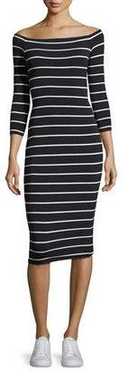 Bailey 44 Galley Down Off-the-Shoulder Striped Midi Dress, Blue/White $168 thestylecure.com
