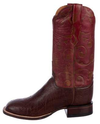 Lucchese Leather Square-Toe Boots Brown Leather Square-Toe Boots