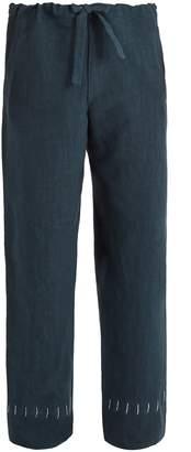 HECHO Drawstring-waist straight-leg linen trousers