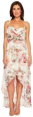 Hale Bob Petal Pusher Satin Burnout Wrap Dress Women's Dress