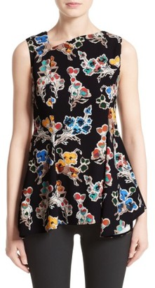 Women's Jason Wu Floral Print Asymmetrical Draped Top $995 thestylecure.com