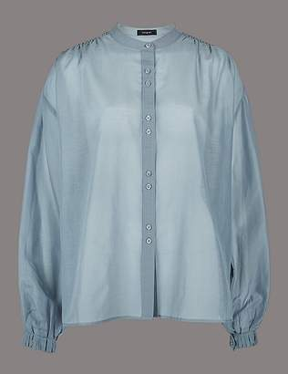Marks and Spencer Cotton Rich Round Neck Long Sleeve Shirt