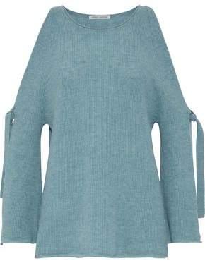 Autumn Cashmere Cold-Shoulder Mélange Cashmere Sweater