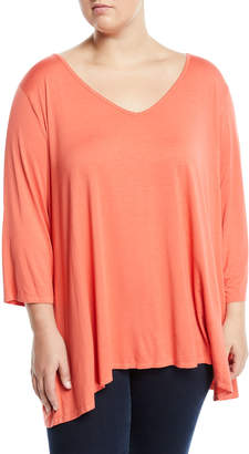 Three Dots Wide-Sleeve V-Neck Tee Plus Size