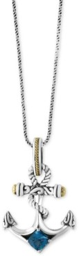 Effy Balissima Blue Topaz Anchor Pendant Necklace (7/8 ct. t.w.) in Sterling Silver and 18k Gold