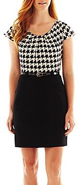 JCPenney Alyx® Belted Houndstooth Dress
