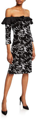 Rickie Freeman For Teri Jon Dotted Off-the-Shoulder 3/4-Sleeve Sheath Dress with Ruffle Detail