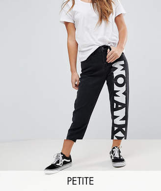 Noisy May Petite Mom Jeans With Slogan
