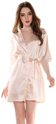 Bella Bridal Fashion Womens Faux Silk Lace Robe nightwear, short