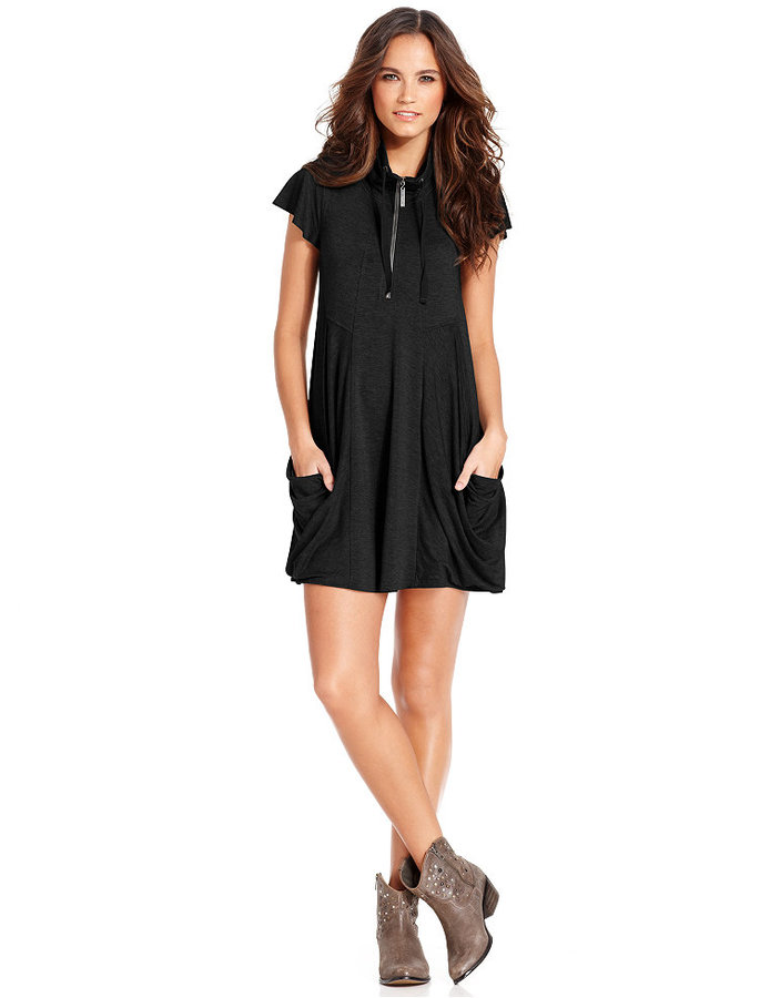 Kensie Flutter-Sleeve Draped French-Terry Dress