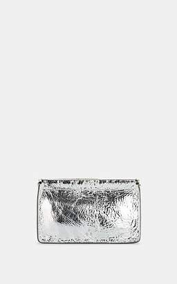 Jerome Dreyfuss Women's Clic Clac Large Metallic Crinkled Leather Clutch - Silver