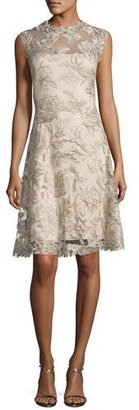 Tadashi Shoji Sleeveless Embroidered Cocktail Dress, Latte/Gold $468 thestylecure.com