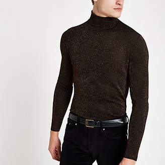 River Island Bronze metallic roll neck slim fit sweater
