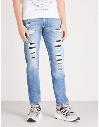 Alexander McQueen Distressed slim-fit tapered jeans