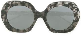 Thom Browne Eyewear Large Round Grey Tortoise Sunglasses