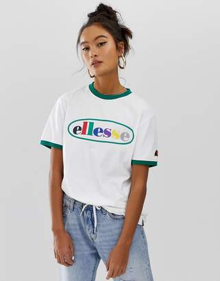 Ellesse ringer t-shirt with rainbow front logo