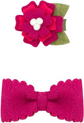 PLH Bows Small Felt Flower & Bow Hair Clips