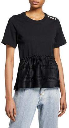3.1 Phillip Lim Crewneck Short-Sleeve T-Shirt w/ Pearlescent Shoulder Detail