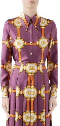Gucci GG Doubloon Harness Print Silk Twill Blouse