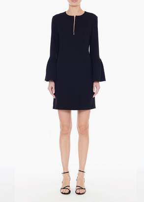 Tibi Structured Crepe Ruffle Sleeve Shift Dress
