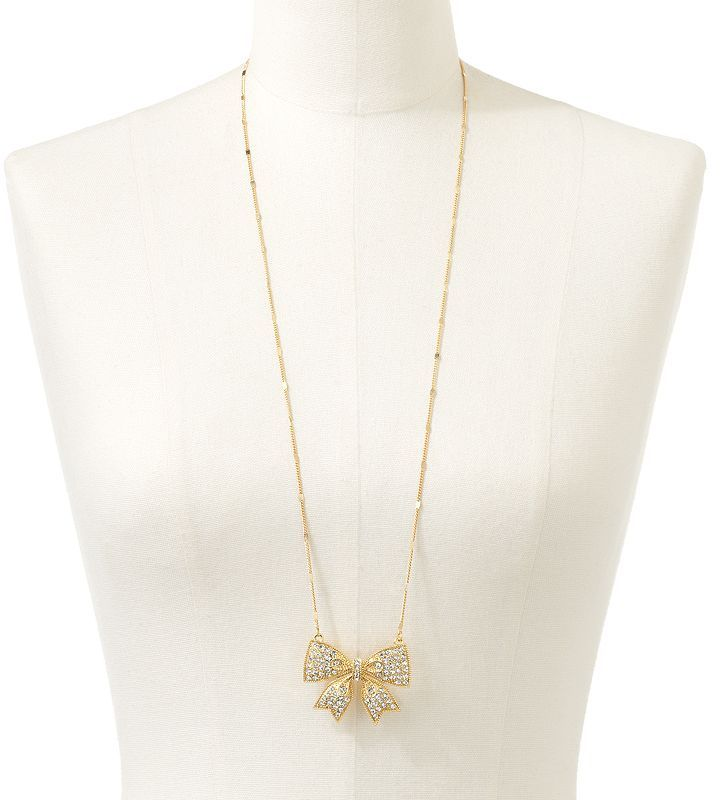 Lauren Conrad gold tone simulated crystal bow long necklace