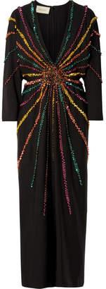 Gucci Embellished Silk Crepe De Chine Gown - Black