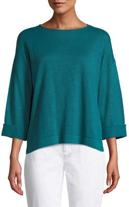 Eileen Fisher 3/4-Sleeve Organic Linen Sweater