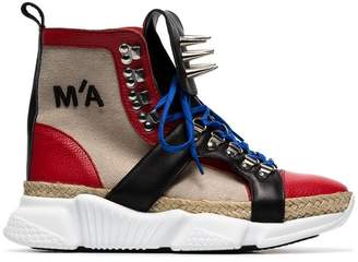 Marques Almeida Marques'almeida spike embellished canvas hi top sneakers
