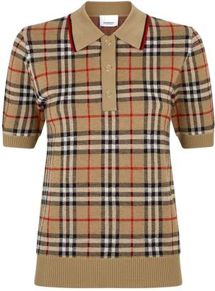 Burberry Vintage Check Knitted Polo Shirt