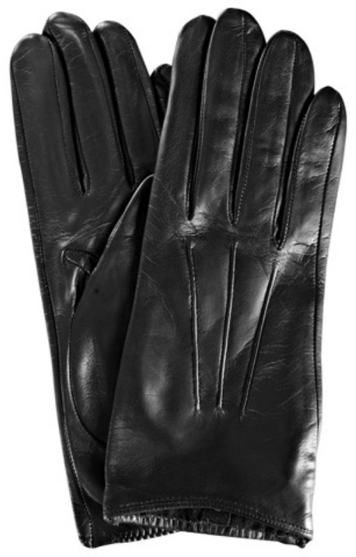 Portolano black leather silk lined driving gloves