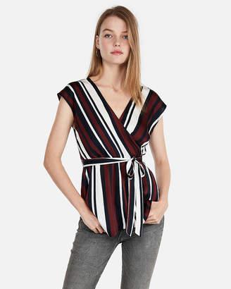 Express Striped Asymmetrical Hem Surplice Wrap Top