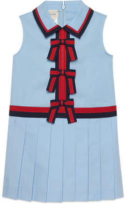 Gucci Sleeveless Web-Trim Bow Dress, Size 4-12