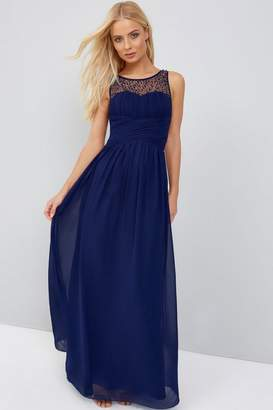 Little Mistress Bridesmaid Grace Navy Embellished Neck Maxi Dress