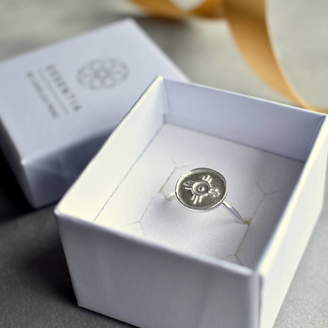 Essentia By Love Lily Rose Silver 'Happiness' Amulet Ring