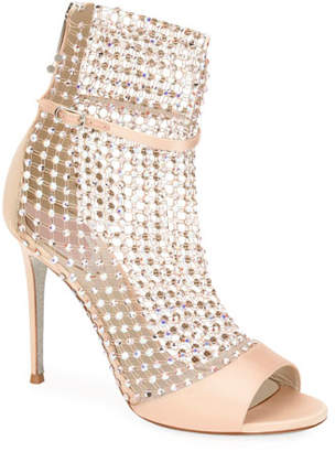 Rene Caovilla Crystal Mesh & Satin Caged Bootie Sandals