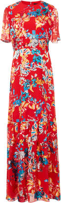 Saloni Lorna Floral-Print Crepe de Chine Dress