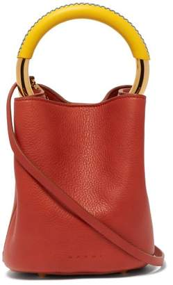 Marni Pannier Leather Bucket Bag - Womens - White Multi