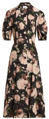 Erdem Gisella Dutch Petal Print Midi Dress - Womens - Black Pink