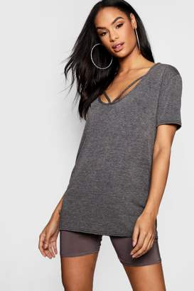 boohoo Strappy Front Oversized T-Shirt