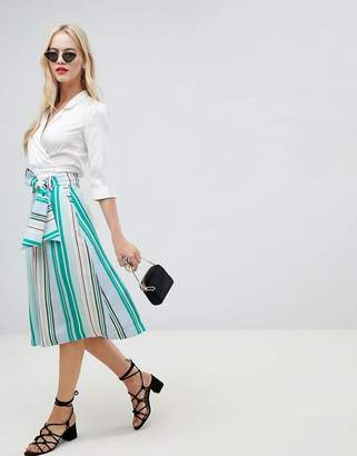 Oasis midi skirt with tie detail in stripe
