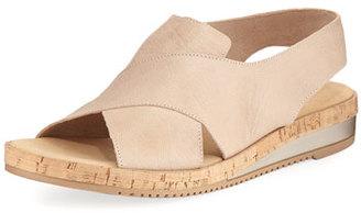 Sesto Meucci Sabita Demi-Wedge Flat Sandal, Beige $165 thestylecure.com