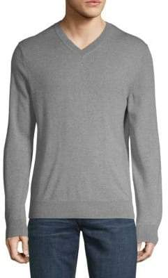Saks Fifth Avenue V-Neck Melange Merino Wool Sweater