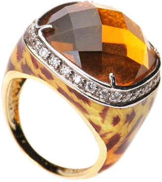 Diamond Select Cuts 18K Two-Tone 16.05 Ct. Tw. Diamond & Citrine Ring