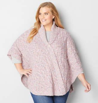 Avenue Faux Button Poncho Sweater
