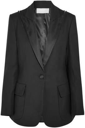 Monse Zip-Detailed Satin-Trimmed Wool-Blend Twill Blazer