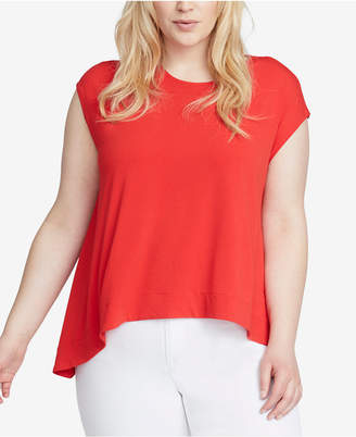 Rachel Roy Trendy Plus Size Cap-Sleeve High-Low Top