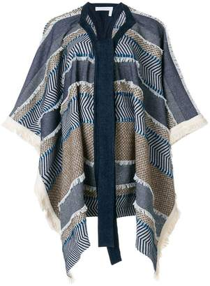 See by Chloe oversized draped patterned coat