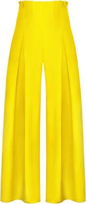 Abadia Pleated Silk Taffeta Wide-Leg Pants