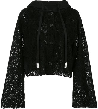 Haculla cropped lace see through hoodie