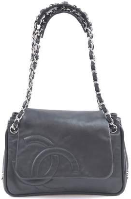 Chanel Cc Chain Strap Flap Black Leather Shoulder Bag